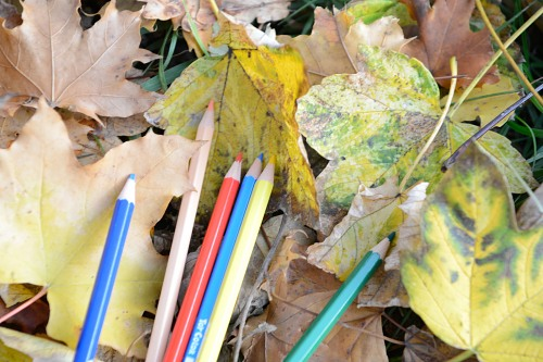 Art autumn colors crayons