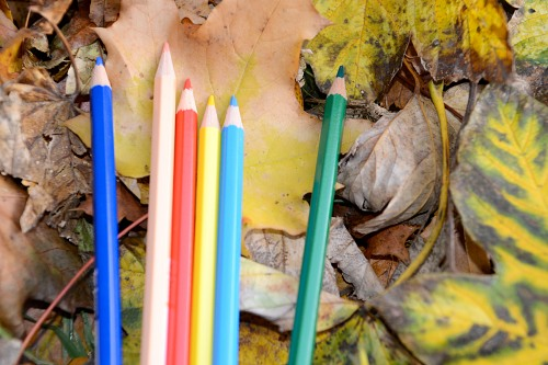 Autumn leaves crayons school