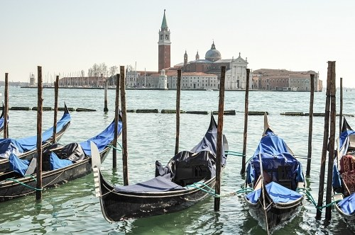 Blue gondolas in Venice