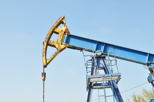 Blue industrial pump oil field