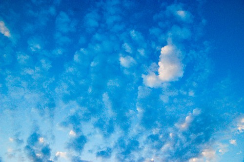 Blue sunset sky with clouds