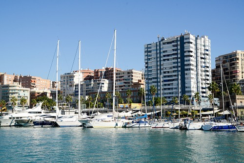 Buildings next to marina