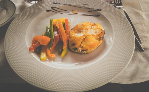 Cod fish and vegetables dish