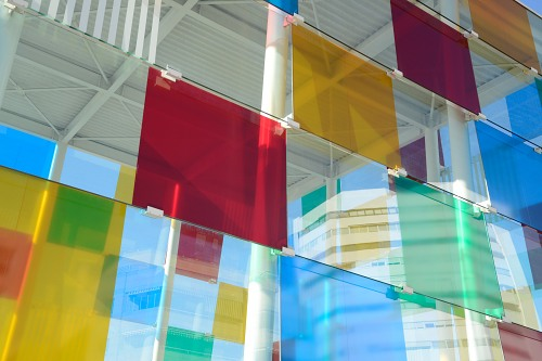 Colorfull glass wall