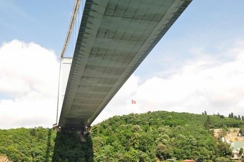 Crossing under a bridge