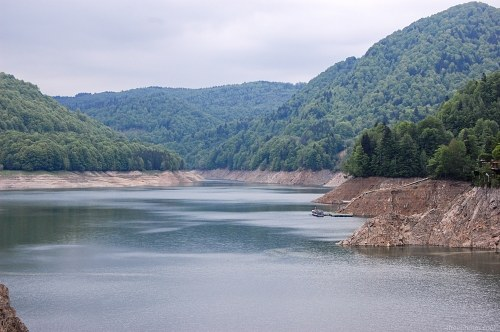 Dried up lake during summer
