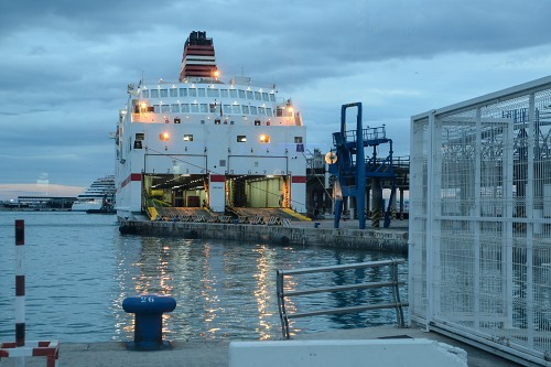 Ferryboat loading at docks night