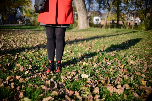Girl red boots autumn