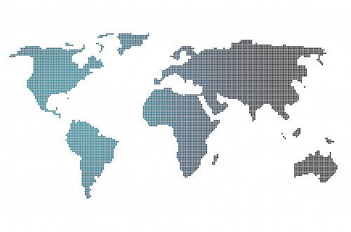 Gradient dotted world map