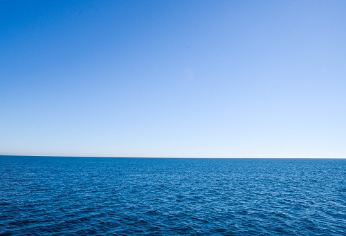 Horizon line over ocean