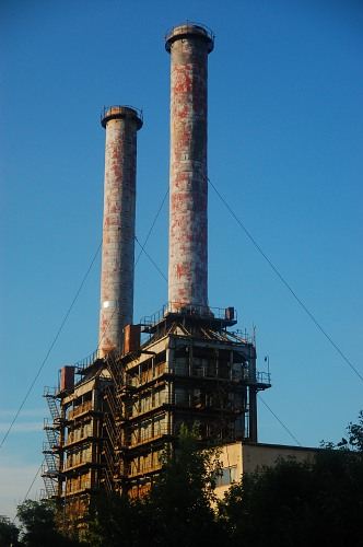 Industrial power plant towers