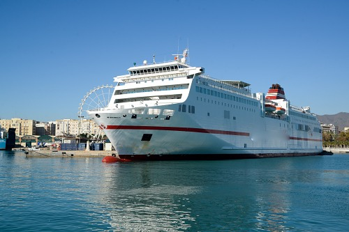 Large ferryboat in port