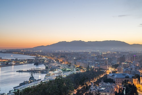 Malaga Spain city at dusk
