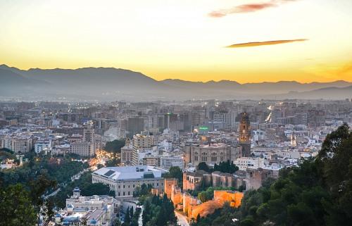 Malaga cathedral sunset