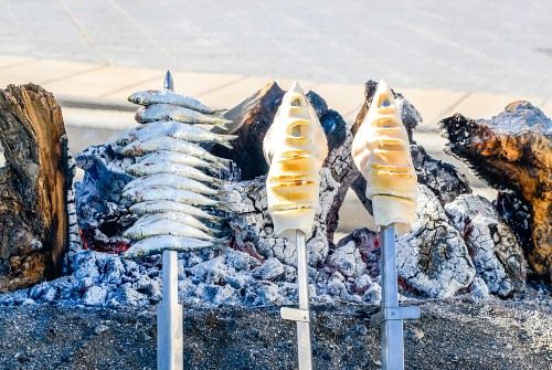 Malaga grilled sardines on stick
