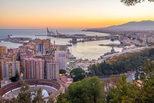 Malaga harbour dusk shot