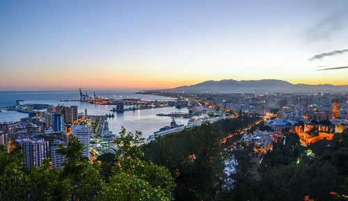 Malaga night city panorama