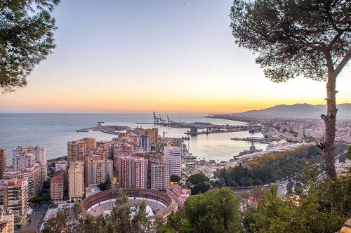 Malaga port panorama from the hill