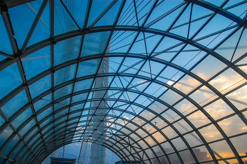 Modern glass roof of a  tram station