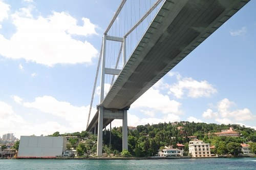 Modern suspension bridge in Istanbul