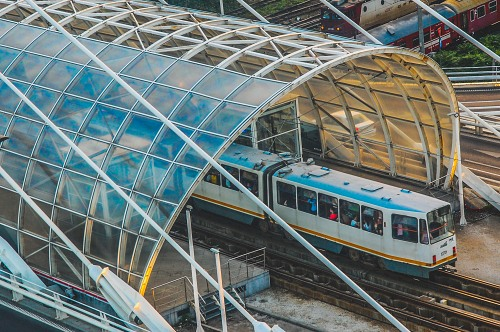 Modern tram station glass roof