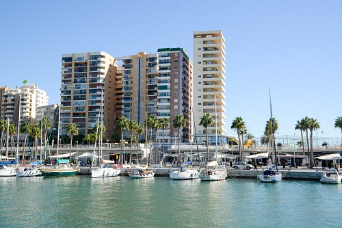 Modern waterfront apartment buildings