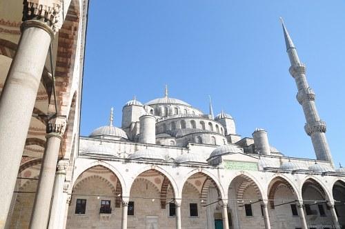 Mosque yard minarets