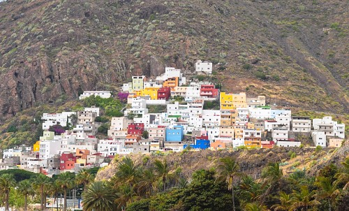Multicolor houses village Tenerife