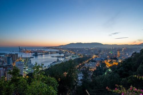 Night shot of Malaga Spain