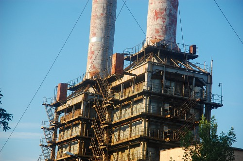 Old factory chimney towers