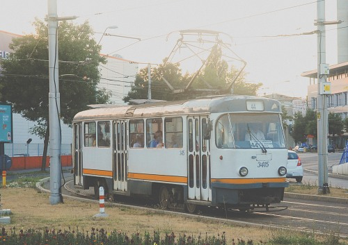 Old tram in city