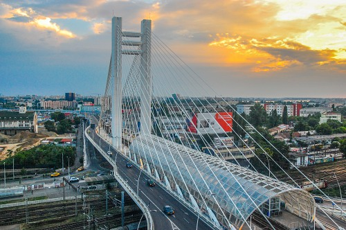 Overpass bridge over city rails