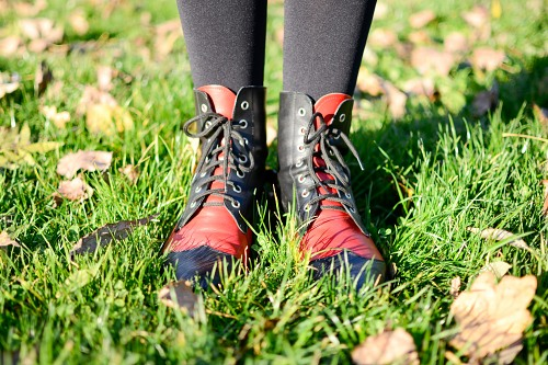 Red boots autumn