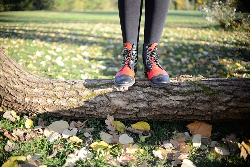 Red boots autumn forest