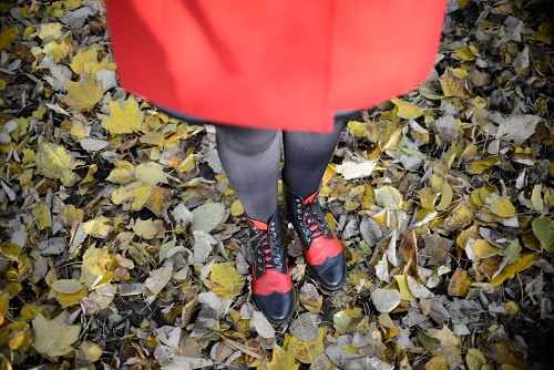 Red coat girl autumn