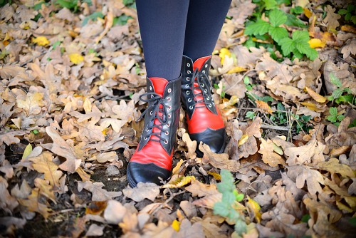 Red leater boots autumn