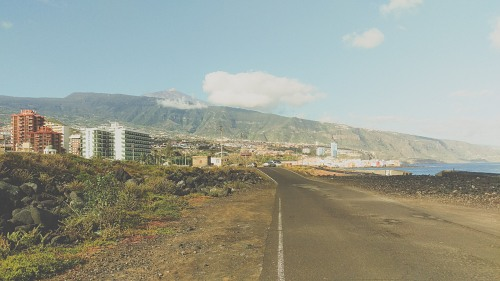 Road and city on volcanic island