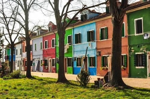 Row of multicolor houses