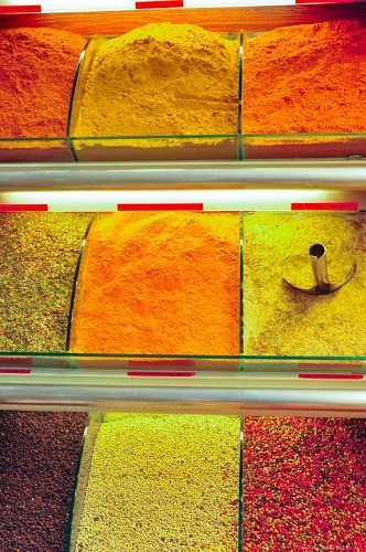 Row of multicolor spices