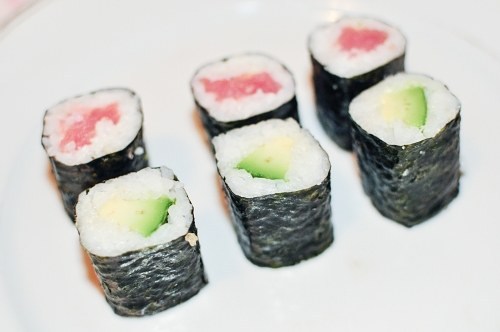 Salmon avocado sushi