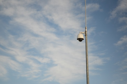 Security camera on pole