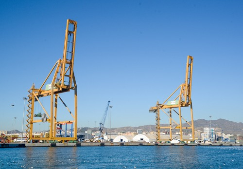Shipping cranes in port