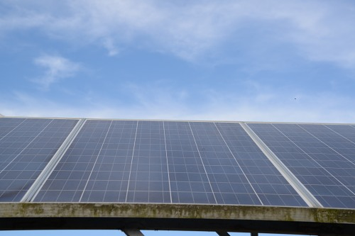Solar panel and sky