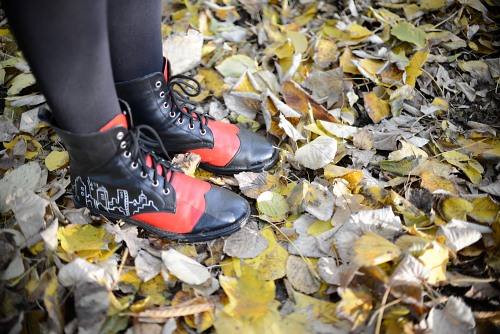 Stepping on autumn leaves