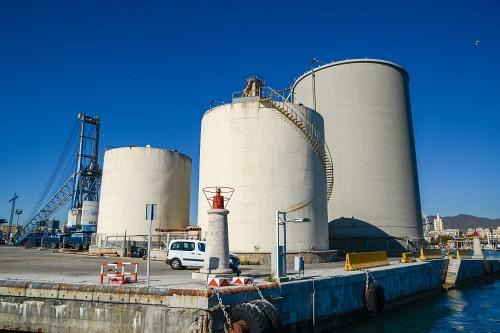 Storage tanks in port industrial area