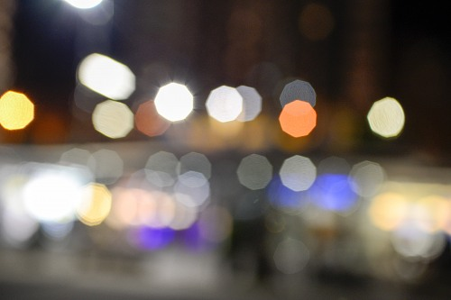 Street lights blur