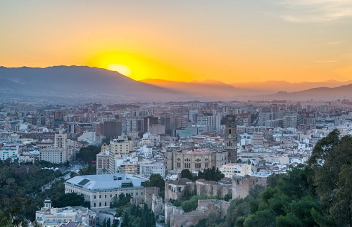Sunset mountains city  Spain