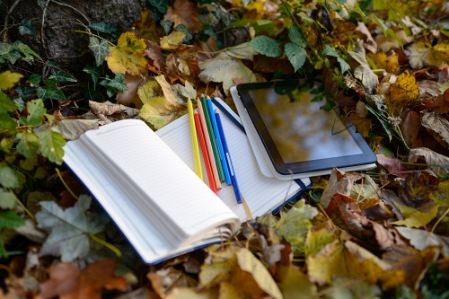 Tablet notebook pencils forest autumn
