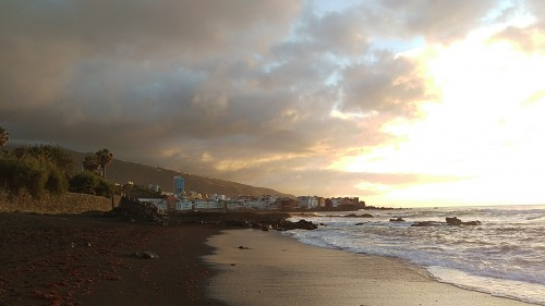 Tenerife sunset volcanic beach