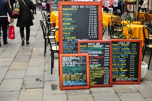 Tourist restaurant menu prices